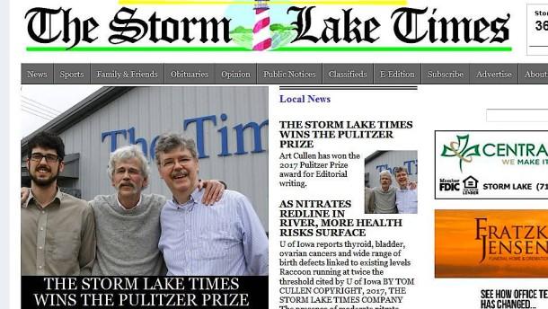 Pulitzer-Preis für kleine Lokalzeitung aus Iowa