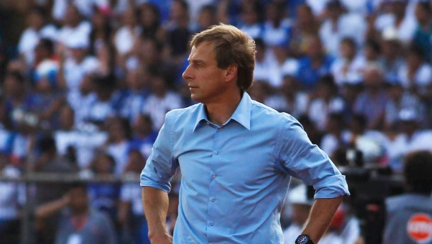U.S. soccer team head coach Klinsmann looks on during their 2014 World Cup qualifying soccer match against Honduras in San Pedro Sula