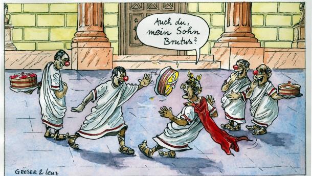 Karikatur / Greser und Lenz / Halb so wild: Clowns in der italienischen Politik