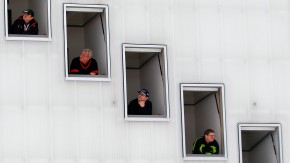 Judges follow the trial jump of the second event of the four-hills ski jumping tournament in Garmisch-Partenkirchen