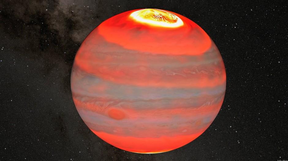 Die Farbstufen von weiß zu dunkelrot spiegeln die Temperaturen von Jupiters oberer Atmosphäre wider. Die heißen Aurorae an den Polen transportieren ihre Wärme über Winde zu tieferen Breitengraden.