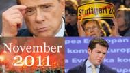 Papandreou weg, Berlusconi auch. Guttenberg: Vorerst wieder da