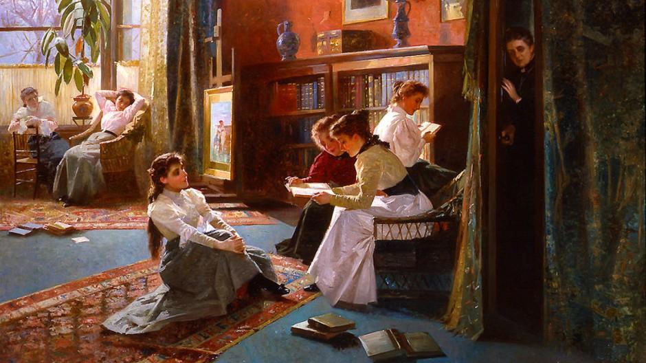 """Wer lauscht da hinterm Vorhang? """"Verbotene Bücher"""" hat Alexander Rossi sein Gemälde genannt, das um 1897 entstand"""