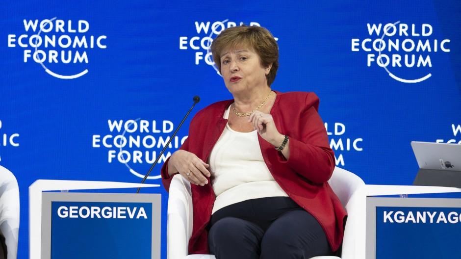 Die ehemalige Geschäftsführerin der Weltbank und heutige Chefin des IWF, Kristalina Georgiewa, spricht auf dem Weltwirtschaftsforum 2019 in Davos.