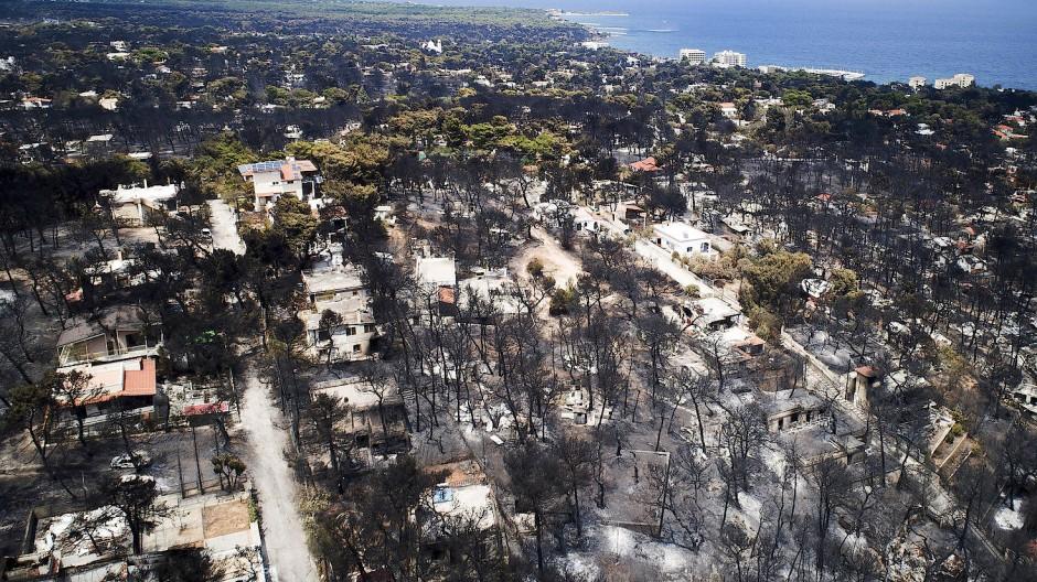 Weite Teile des griechischen Urlaubsdorfs Mati sind durch die verheerenden Waldbrände zerstört.