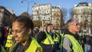 Frankreich ist Steuerweltmeister, findet dieser Spritsteuer-Demonstrant in Paris.