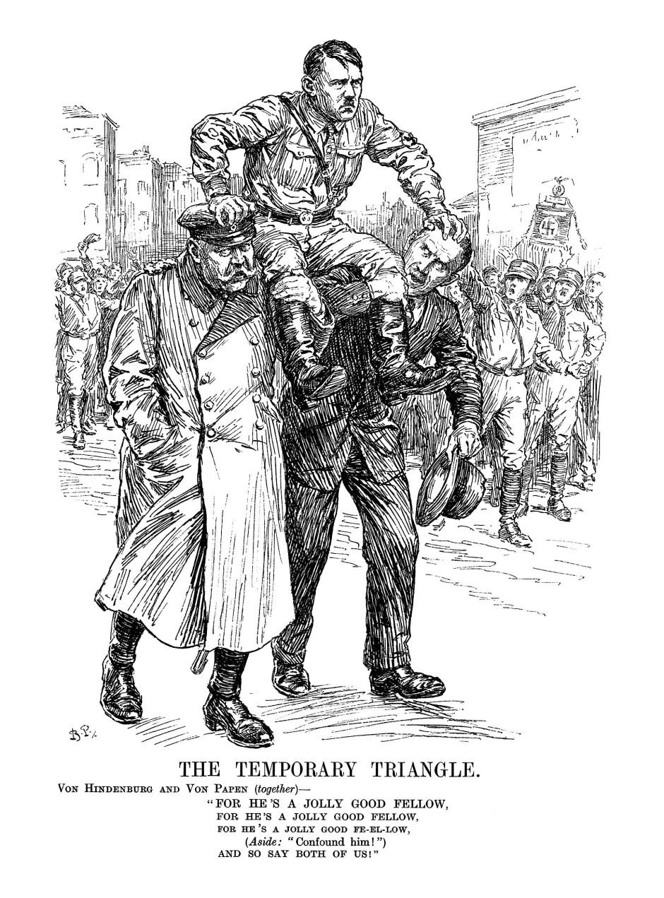 """Der Blick von außen: Hitler auf den Schultern von Hindenburg und Papen. Karikatur aus dem Londoner """"Punch"""" vom 8. Februar 1933."""