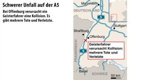 Infografik / Karte / A5 / Unfall wegen Geisterfahrer