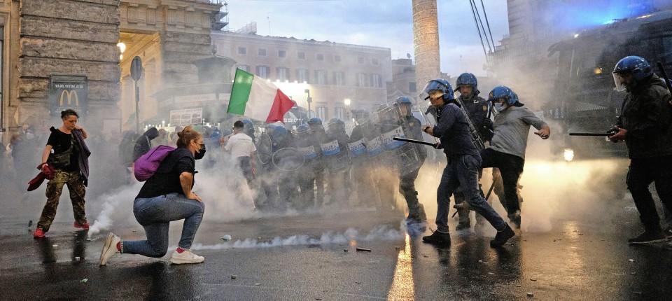 Proteste am Sonntag in Rom gegen Draghis Gesundheitspolitik
