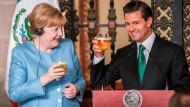 Mit einem kühlen Bier und einem feurigen Kollegen wie Mexikos Präsident Enrique Pena Nieto macht die Arbeit Spaß. Trotz ernster Themen konnte Merkel die Reise augenscheinlich genießen.