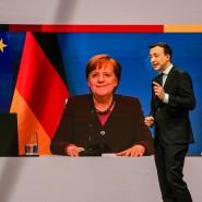 Bundeskanzlerin Angela Merkel und Generalsekretär Paul Ziemiak beim digitalen Parteitag der CDU am Freitagabend.