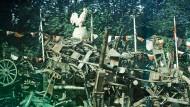 """Was vom Weltkrieg außer Toten, Versehrten und Verstörten wie Schlump übrig blieb: Unter einem gallischen Hahn versammelte Frankreich 1919 die Relikte der Kämpfe aus den vorangegangenen vier Jahren. Das Foto ist Teil der derzeit im Willy-Brandt-Haus gezeigten Ausstellung """"Der Erste Weltkrieg in Farbe"""" (bis 1. Juni)."""