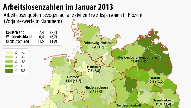 Infografik / Deutschland / Arbeitslosenzahlen im Januar 2013
