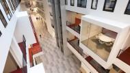 Campus-Meile: In die 152 Meter lange Mall ragen einzelne Räume für Lerngruppen hinein