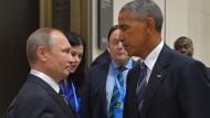 Nicht ganz auf Augenhöhe: Russlands Präsident Putin und Barack Obama beim Treffen beim G-20-Gipfel im September