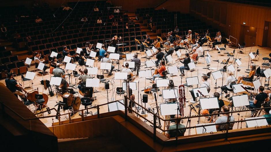 Die Bamberger Symphoniker, hier mit dem Dirigenten Finnegan Downie Dear