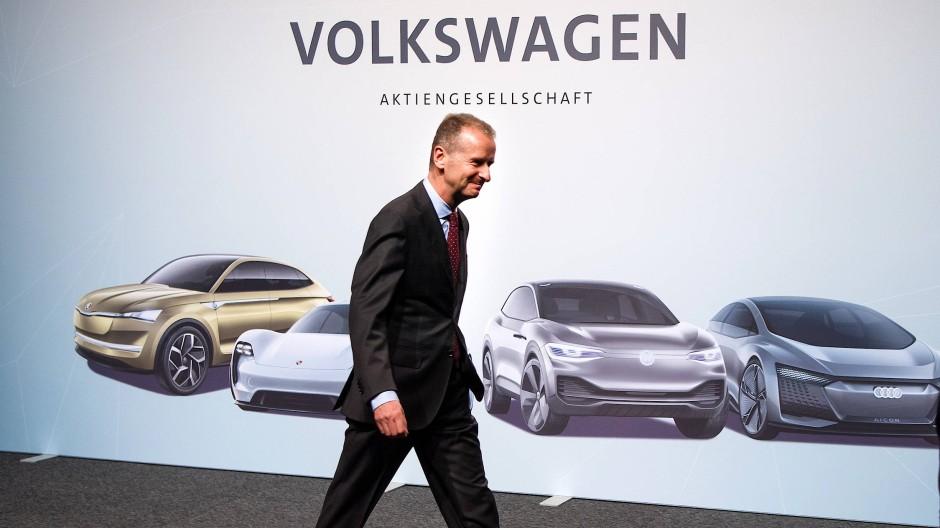 Herbert Diess, neuer Vorstandsvorsitzender der Volkswagen AG, auf der Hauptversammlung 2018.