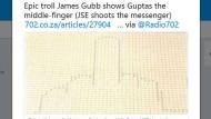 Ein Kurs wie ein Finger: James Gubb twittert sein Werk.