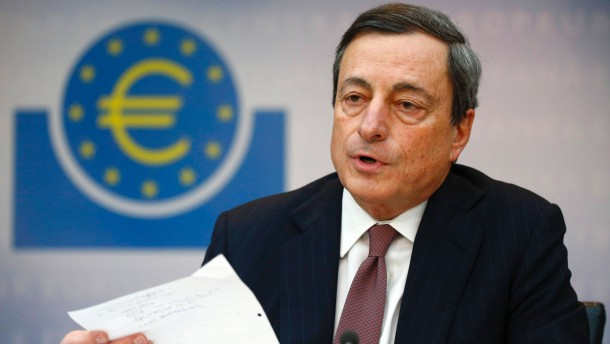 Draghi, President of the ECB, addresses the media during his monthly news conference in Frankfurt