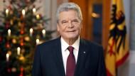 Bundespräsident Gauck hält seine Weihnachtsansprache. Ausgestrahlt wird sie am ersten Weihnachtstag.