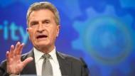 """Der deutsche Kommissar Günther Oettinger: """"Ohne Regierung keine Verhandlungen"""""""
