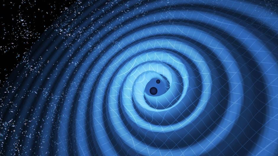 Zwei Schwarze Löcher, die die Raumzeit kräuseln - künstlerische Illustration