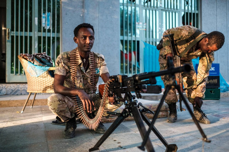 Amharische Spezialkräfte, die auf Seiten der äthiopischen Armee kämpfen, in der Stadt Humera in der umkämpften Region Tigray am 22. November