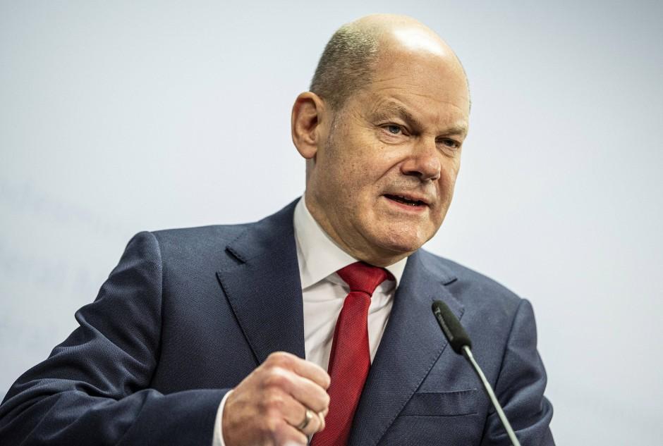 Bundesfinanzminister Olaf Scholz bei einer Pressekonferenz im Dezember 2020