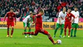 Ideale Trefferquote: Robben trifft vom Elfmeterpunkt rechts wie links