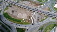 Baustelle unterhalb der A 661: Der Umbau des Kaiserlei-Kreisels in Offenbach