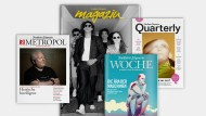 """Die F.A.Z.-Redaktion macht auch Zeitschriften: Das """"Magazin"""", das regelmäßig samstags der Zeitung beiliegt, die """"Woche"""", """"Quarterly"""" für Kunst- und Kulturinteressierte und """"Metropol"""" über die Wirtschaft im Rhein-Main-Gebiet."""