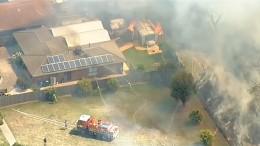 Buschfeuer zerstören Häuser