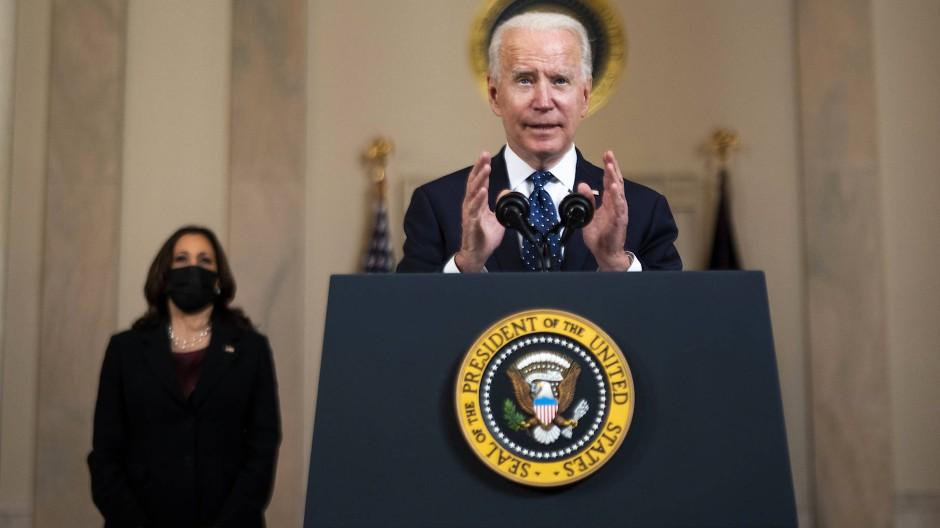 Der amerikanische Präsident Joe Biden spricht nach dem Schuldspruch gegen den Polizisten Derek Chauvin im Weißen Haus.
