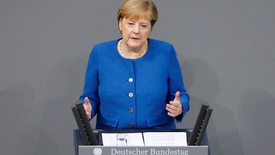 Angela Merkel am Donnerstag im Bundestag