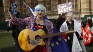 Madeleina Kay bei einer Protestaktion Ende Januar in London. Vor Ort waren Brexit-Gegner und -Befürworter.
