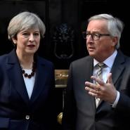 Besorgter Blick nach London: EU-Kommissionspräsident Juncker mit der britischen Premierministerin May