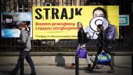 Mit Ankündigung: Lehrer haben in Polen auch auf Plakaten zum Streik aufgerufen.