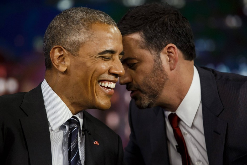 Komiker Jimmy Kimmel in seiner Late-Night-Show mit Barack Obama