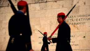 Members of the Greek Presidential Guard perfom a ceremonial ritua