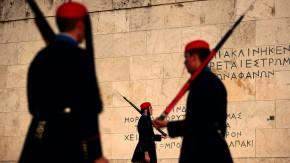 Members of the Greek Presidential Guard perfom a ceremonial ritua
