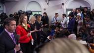 Werden sie hier auch künftig auf den Präsidenten warten? Journalisten vor Obamas letztem Presse-Briefing im James S. Brady Press Briefing Room im Weißen Haus