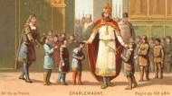 Karl der Große besucht eine Schule, anonyme französische Lithographie von 1890.