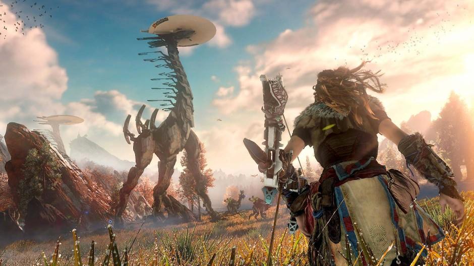 """Das Videospiel """"Horizon: Zero Dawn"""" erschafft eine technisierte Steinzeit in der Zukunft."""