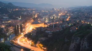 Panoramic night view of the city, Sarajevo, Bosnia, Bosnia-Herzegovina, Europe