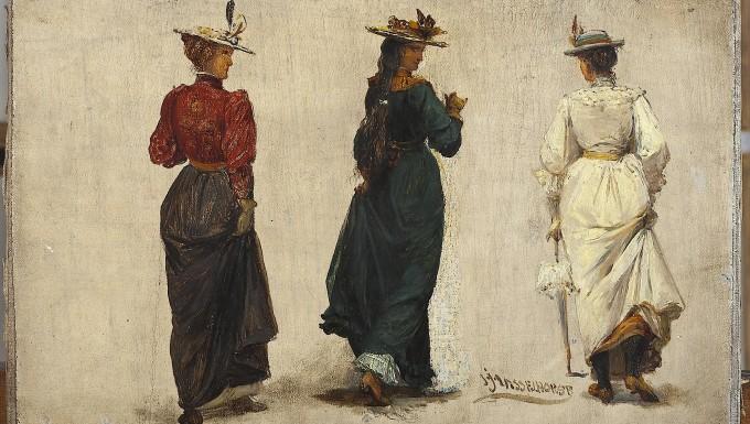 Hasselhorst, Johann Heinrich, Drei schreitende Frauen in Rückenansicht, Öl auf Leinwand