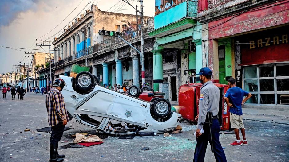 Zerstörung an den wenigen Dingen, die da sind: Nach den Protesten gegen das Regime in Havanna vor gut vierzehn Tagen