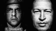 """Original und Darstellung: In der Serie """"El Comandante"""" spielt Andrés Parra (links) den früheren venezolanischen Präsidenten Hugo Chávez."""