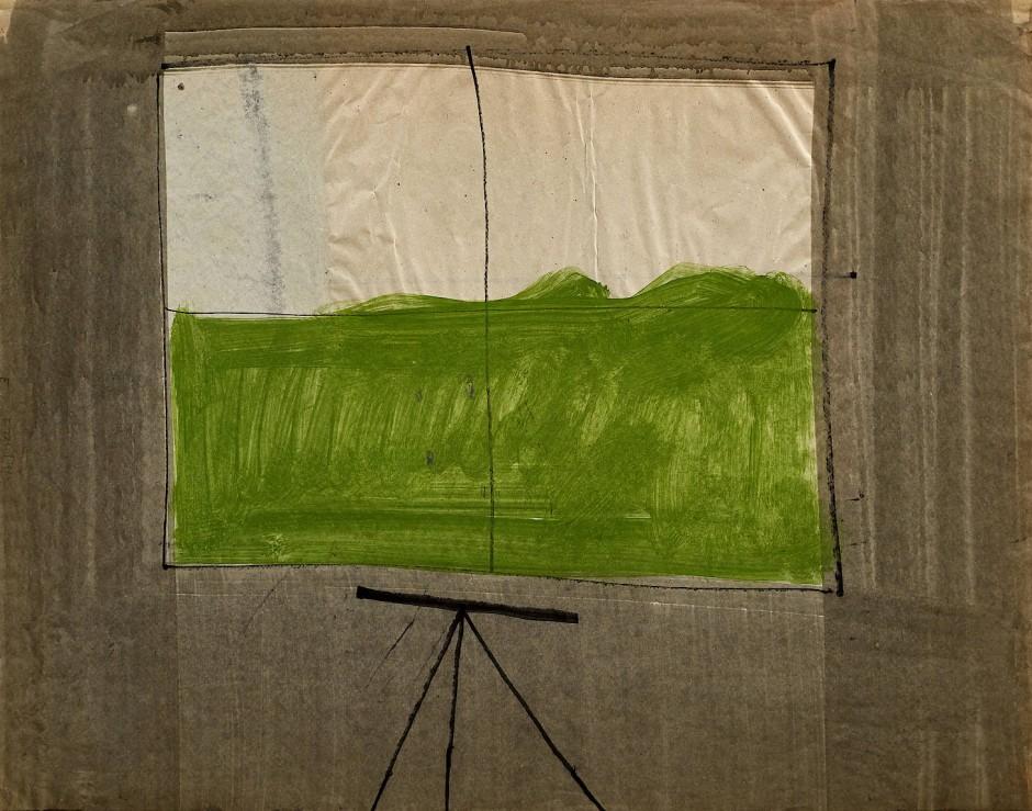 Fritz Klemm: Fenster mit Zeichentisch, um 1964-66, Aquarell, Tusche auf Papier, 50 x 63 cm.