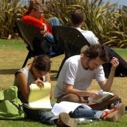 Verse oder Formeln? Studenten auf dem Campus der Universität Haifa