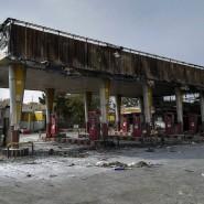 Das war einmal eine Tankstelle in Teheran. Sie wurde bei den Protesten zerstört, Benzin gibt es sowieso nur noch zur Phantasiepreisen.